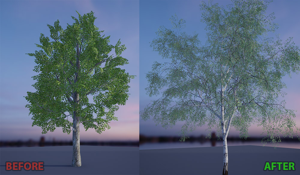 Comparision of old and new tree art